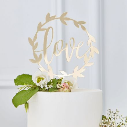 "Gold ""Love"" Wedding Cake Topper"